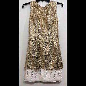 JJ's House Gold Sequin Drape Back Cocktail Dress
